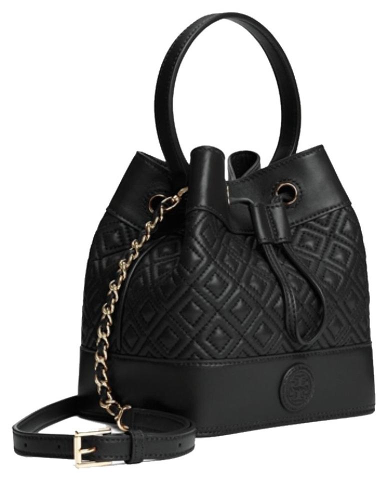 4c09bbd5fa3 Tory Burch Marion Quilted Mini Bucket New Tote Black Leather Cross ...