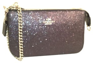 Coach Glitter Leather New Nwt Wristlet in Black Silver