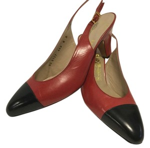 Salvatore Ferragamo All Leather Capped Toe Black & Red Pumps