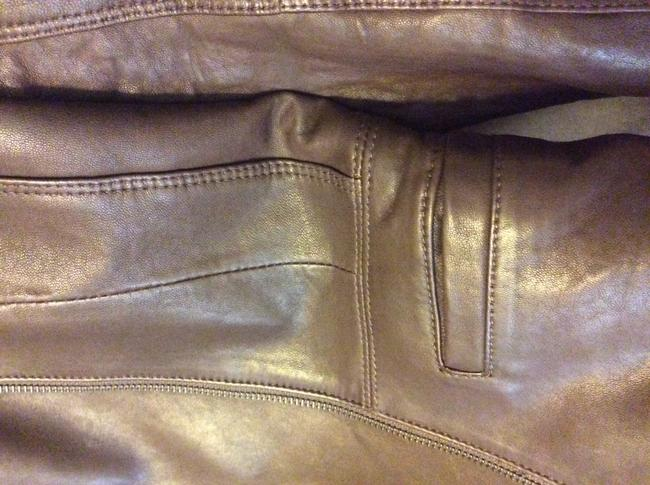 Theory Front Zip Waist With 2 Front Dark brown Leather Jacket