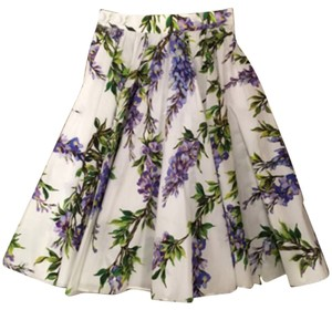 Dolce&Gabbana Skirt White with violet flowers