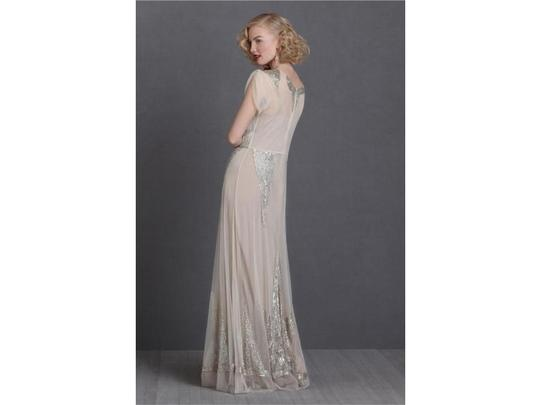1e086202c360 BHLDN Bisque Nylon Tulle Shell; Sequins and Button Embellishments Silk  Lining Aiguille Gown Vintage Wedding