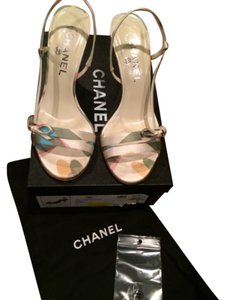 Chanel Bows Monogram D'orsay Ivory and pale green multicolor Sandals
