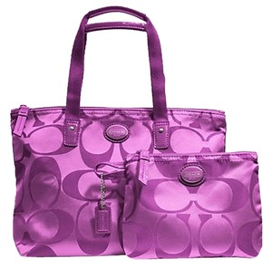 d960eeccab29 Coach Getaway Signature Nylon Small Packable Tote F77322 Purple Violet Travel  Bag