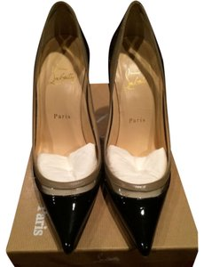 Christian Louboutin Pointed Toe Clear Pvc Patent Leather Black & Tan Pumps