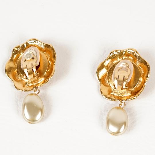 Chanel Chanel Gold, Red Gripoix & Glass Pearl Earrings
