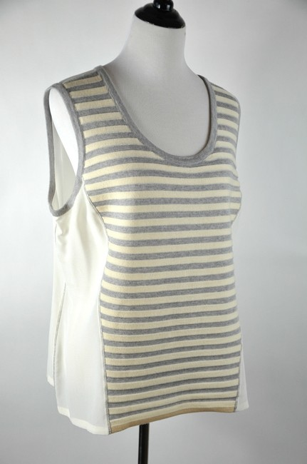 St. John Gray Stripe Wool Blend Silk Camisole Top Beige