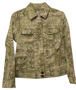 Chico's Fish Print Small Medium Green, White Jacket