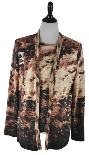 Preload https://img-static.tradesy.com/item/10415371/st-john-multi-color-two-piece-browns-leopard-print-and-camisole-cardigan-size-14-l-0-1-650-650.jpg