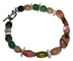 Other Handmade Jasper Quartz Stone Shell Glass Bracelet B074