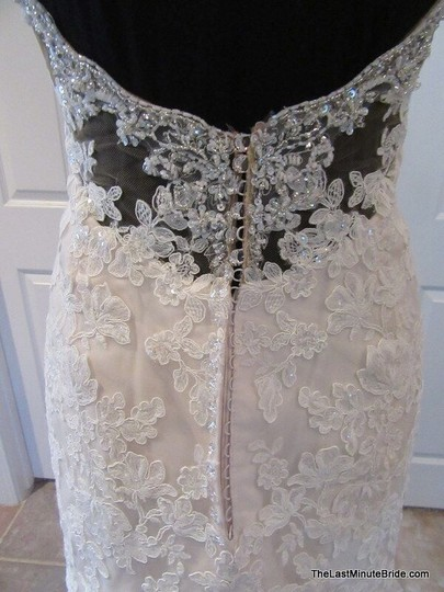 Essense of Australia Ivory Lace and Moscato Tulle Over Almond Gown Beaded D2002 Modern Wedding Dress Size 12 (L)