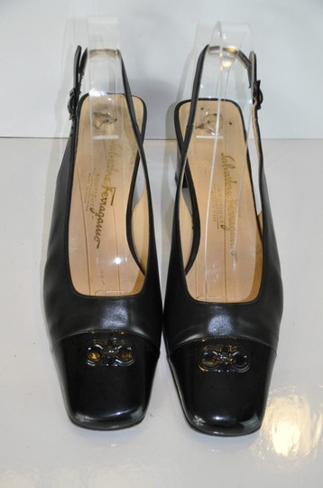 Salvatore Ferragamo Leather Patent Leather Square Toe Size 8c Black Sandals