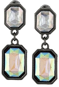 Crystal Abalone Rectangle Hematite Drop Earrings