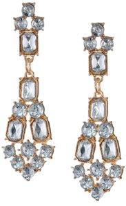 All Stone Deco Gold and Crystal Earrings
