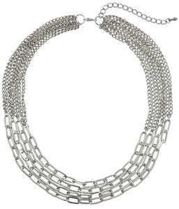 Silver Layered Link and Chain Statement Necklace