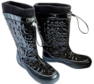 Coach Knee Length Flat Black Boots