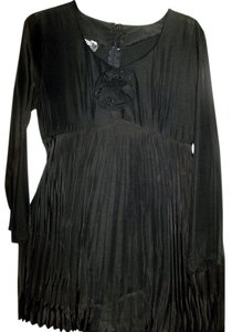 Other Dressy Rayon Black Pantsuit by Unit, Sz S, Pleated Top & Long Sleeves