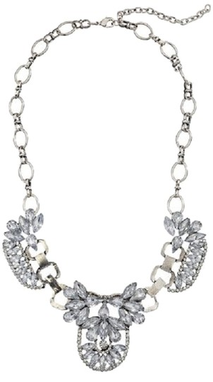 Other Crystal Art Deco Silver-Tone Statement Necklace, 16