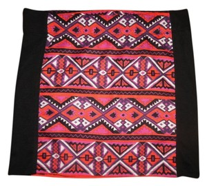Nollie Mini Boho Aztec Bohemian Southwest Western Short Mini Mini Skirt Black, Orange, White, Purple