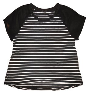 West Kei Stripes Sheer Sleeve Xxl Stretch Top Black, White