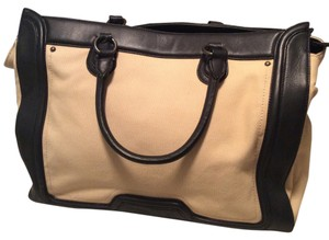 Ann Taylor Leather Tote in Tan and Black