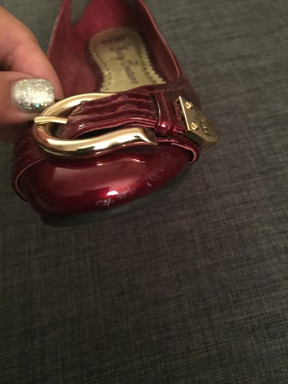 Juicy Couture Leather Patent Burgundy Flats