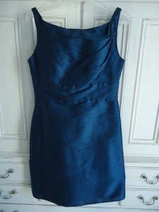 Jim Hjelm Occasions Ink Blue Dupioni 5063 Traditional Bridesmaid/Mob Dress Size 8 (M)