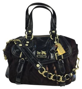 Coach Exotic Handbag Trendy Zebra Haircalf Satchel in Black and Brown