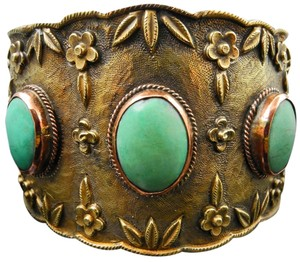 Antique Chinese Chinese Ornate Brass & Turquoise Cuff