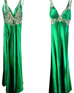 Terani Couture Emerald Embellished Crystal Dress