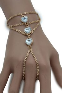 Women Gold Metal Hand Chain Fashion Bracelet Slave Ring Hearts Silver Beads