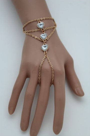 Other Women Gold Metal Hand Chain Fashion Bracelet Slave Ring Hearts Silver Beads