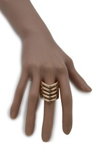 Other Women Ring Fashion Jewelry Gold Metal Chevron Stripes Finger Elastic Band