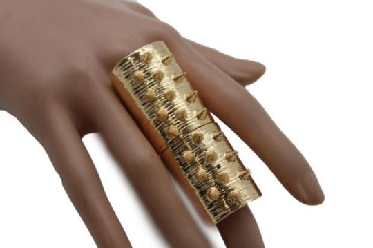 Other Women Ring Spikes Fashion Jewelry Gold Metal Wide Big Long Finger Elastic Band