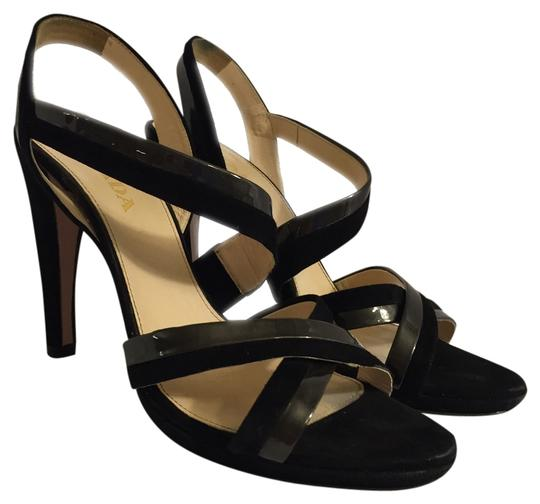 Prada Leather Suede Stylish Strappy Classic Dressy Sexy Good Condition Size 7 7 38 Modern Heel Blac Formal