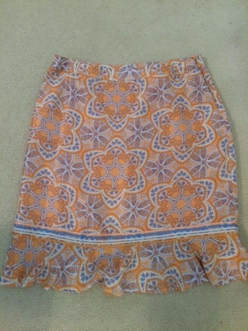 Sigrid Olsen New Silk Lined Skirt Pastel Peach Blue