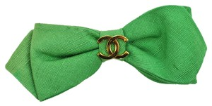 Barrette Authentic CHANEL Ribbon Hair Accessory Barrette Green Gold France Vintage K06268