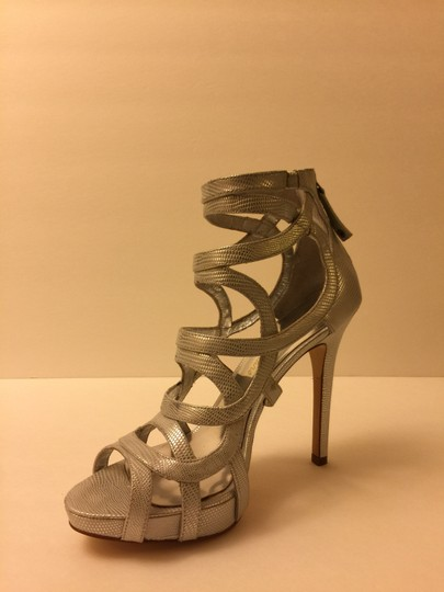 Marciano Strappy Heel New Silver Pumps