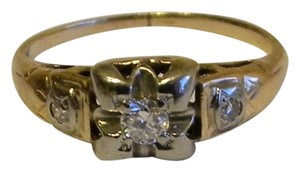 Antique 10K White Yellow Gold Diamond Engagement Ring