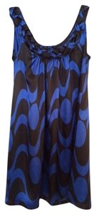 Sharagano short dress Black and Blue Mini Spandex Nylon on Tradesy