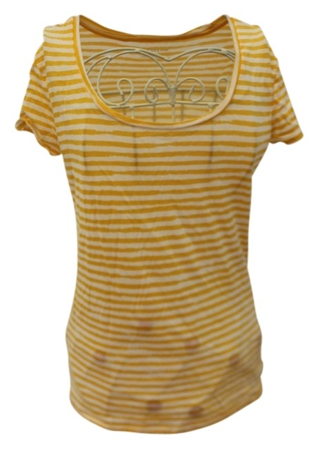 Preload https://img-static.tradesy.com/item/1042326/ann-taylor-yellow-and-white-striped-tee-shirt-size-0-xs-0-0-650-650.jpg