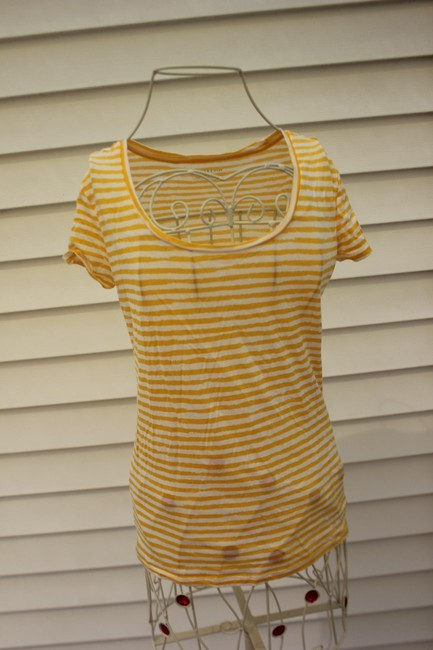 Ann Taylor T Shirt Yellow and White