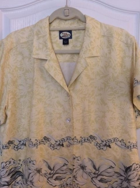 Tommy Bahama Hawaiian Silk Button Down Shirt yellow