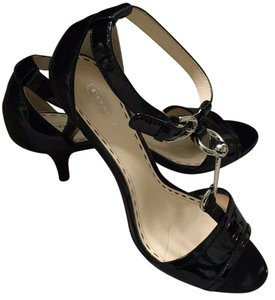Coach Patent Leather Peep Toe Kitten Heel Evening Black Sandals