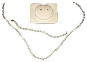 J C Penney Pearl Necklace, Bracelet & Earring Set with 14 Karat Gold