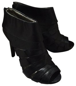 Mossimo Supply Co. Peep Toe Faux Leather Bootie Rocker Black Platforms