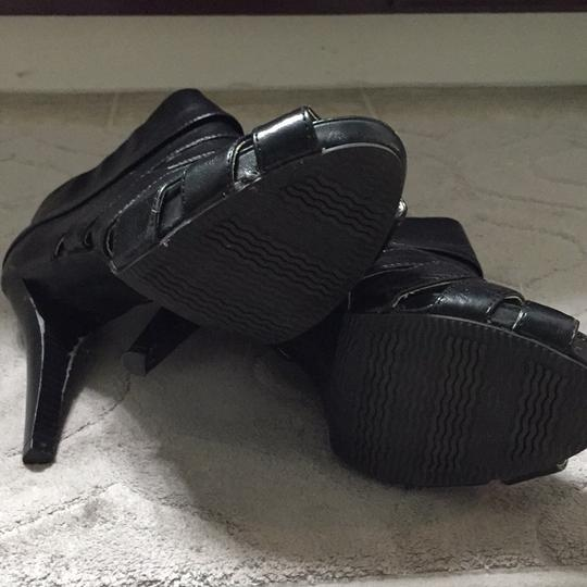 Mossimo Supply Co. Peep Faux Leather Bootie Rocker Black Platforms
