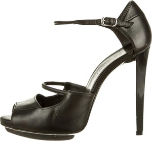Balenciaga Leather Peep Toe Stiletto Designer Hidden Platform Sexy Italian Black Pumps