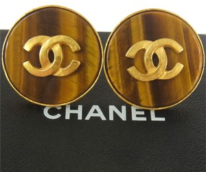 Chanel Authentic CHANEL Vintage CC Logos Button Earrings Gold-Tone Clip-On AK03424