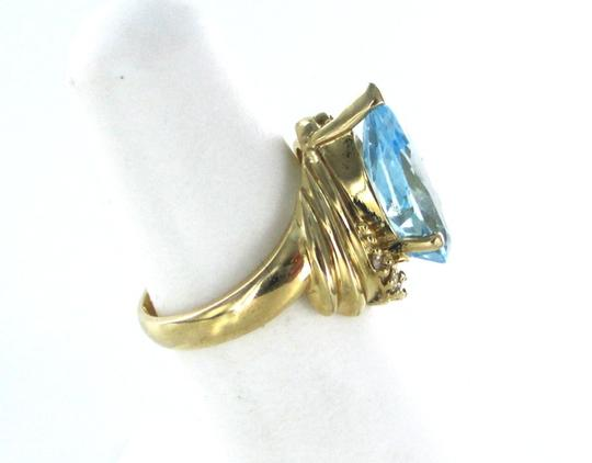 ala 14K KARAT YELLOW GOLD RING BLUE TOPAZ 8 DIAMONDS .12 CARAT BAND ALA DESIGNER